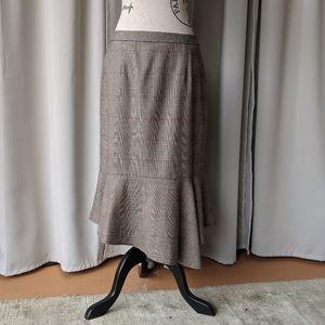 Halogen Asymmetrical Plaid Skirt Brown Size 8